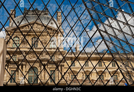 Glass pyramid, Musée du Louvre, Louvre Museum, Paris, Ile de France region, France, Europe - Stock Photo