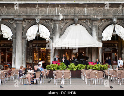 Band in the Caffè Florian on St. Mark's Square, Venice, Veneto, Italy, Europe - Stock Photo
