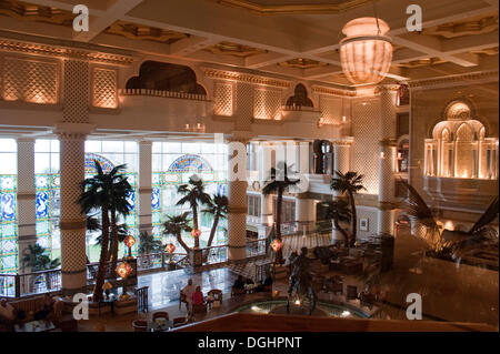 Main hall of the Grand Hyatt Muscat, as seen from the business lounge, Muscat, Oman, Middle East - Stock Photo