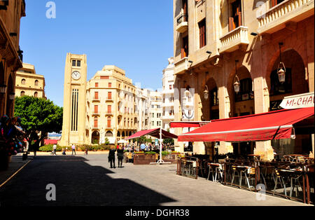 Street café on the Place d'Etoile, Beirut, Lebanon, Middle East, Orient - Stock Photo