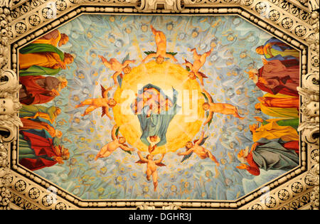 Baroque ceiling paintings in Salzburg Cathedral, Salzburg, Salzburg, Austria, Europe - Stock Photo
