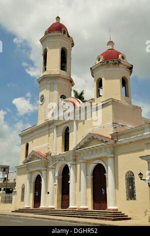 Catedral de la Purisima Concepcion Cathedral, Parque Marti park, Cienfuegos, Cuba, Caribbean - Stock Photo