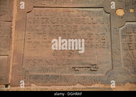 Wall inscription at the cathedral, Cathédrale Notre-Dame, Notre-Dame Cathedral, Strasbourg, Bas-Rhin, Alsace, France, - Stock Photo