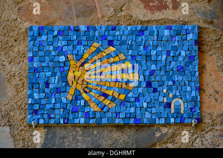 Wall mosaic, Camino de Santiago, Way of St James, Cáceres, Spain - Stock Photo