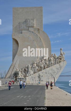 Padrão dos Descobrimentos, Monument to the Discoveries, on the banks of the Tagus River, Belém, Lisbon, Lisbon District - Stock Photo