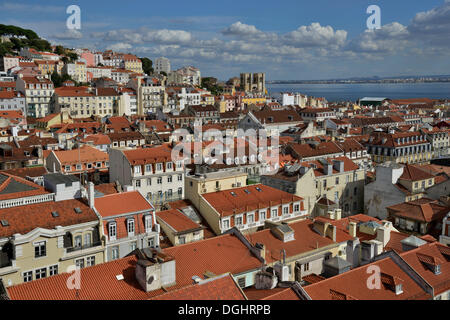 View over the historic Alfama district towards the Tagus River, Lissabon, Portugal, Europa, Lisbon, Portugal - Stock Photo