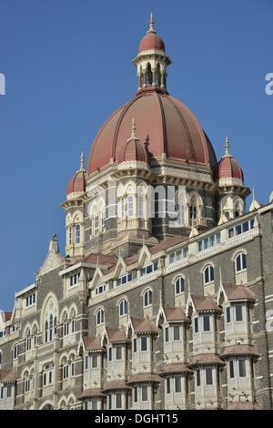 Façade of the Taj Mahal Hotel, badly damaged in a terrorist attack in November 2008, reopened in 2010, Mumbai, Maharashtra - Stock Photo