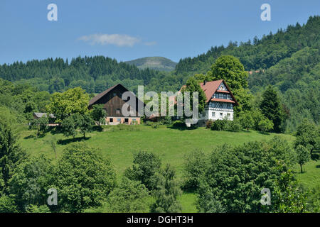 Old houses in the typical Black Forest architecture-style, half-timbered houses, Ottenhöfen im Schwarzwald, Black - Stock Photo