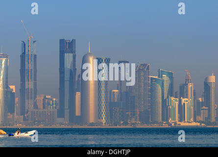 Skyline of the Business District, West Bay area, Doha, Qatar - Stock Photo