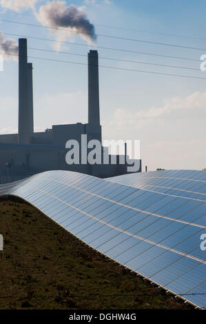 Solar park and Muenchen Nord combined heat and power station, Unterfoehring near Munich, Bavaria - Stock Photo