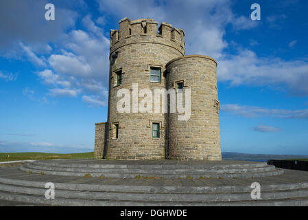 Observation tower O'Brien's Tower, Cliffs of Moher, County Clare, Republic of Ireland, Europe - Stock Photo
