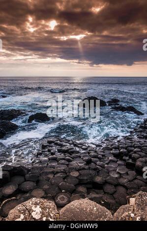 Basaltic cliffs on the Atlantic coast, Giant's Causeway, Coleraine, Northern Ireland, United Kingdom, Europe - Stock Photo