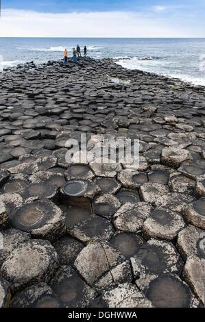 Tourists standing on headland on basaltic rocks, Giant's Causeway, Coleraine, Northern Ireland, United Kingdom, - Stock Photo