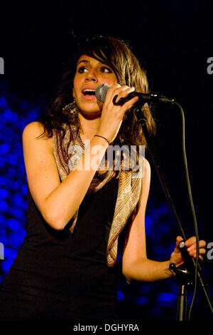 Singer Nicole Zribi aka Djemeia of the Swiss singer and songwriter duo Jones n' Djemeia live in the Knascht Club, Lucerne