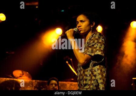 Nneka, Nigerian hip-hop-soul singer songwriter, based in Hamburg, live in the Schueuer, Lucerne, Switzerland - Stock Photo