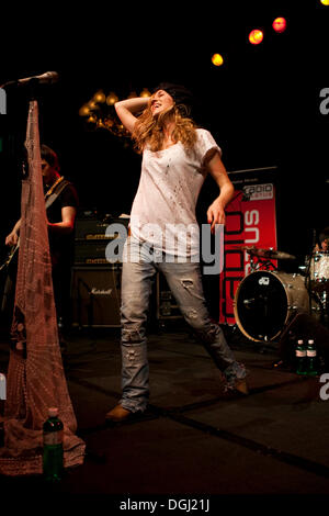 Austrian rock singer and songwriter Saint Lu, aka Luise Gruber, now living in Berlin, live at the Schweizer Showcase - Stock Photo