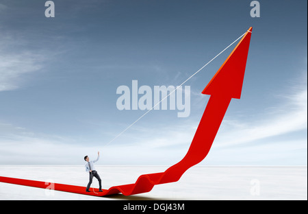 a business man standing on a line - Stock Photo