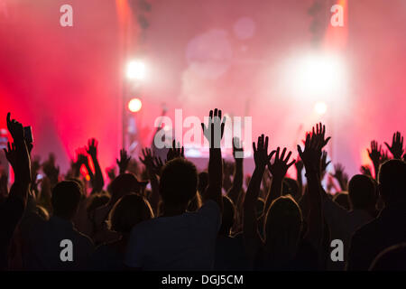 Concert-goers with their hands up in the air during the concert of the U.S.-American hip hop group 'De La Soul' - Stock Photo