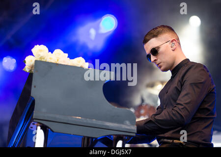 Pianist Adam Anderson from the British synth-pop band Hurts performing live at Heitere Open Air in Zofingen, Aargau, - Stock Photo