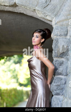 Young Woman Poses In Evening Dress Stock Photo 282410132 Alamy