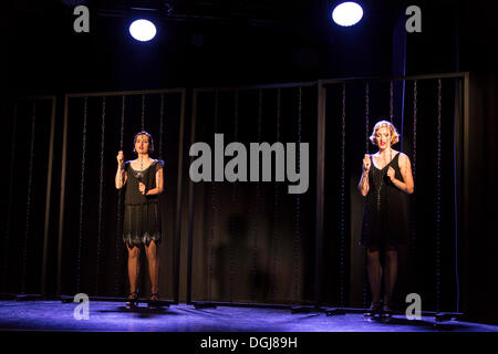 Musical 'Chicago' with Annette Krossa as Roxie Hart and Natascha-Cecillia Hill as Velma Kelly, live performance - Stock Photo