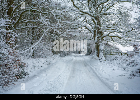 Snow covered rural road. - Stock Photo
