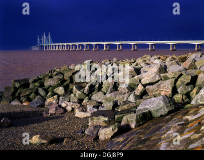 Second river Severn crossing between South East Wales and Gloucestershire in England. - Stock Photo