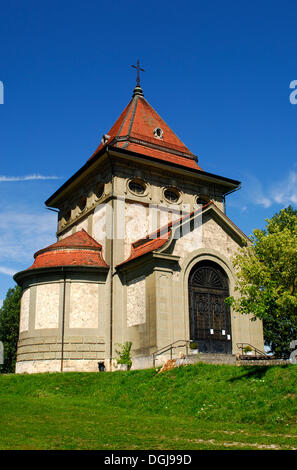 Herz-Jesu-Kapelle, Sacred Heart chapel, on the Way of St. James in Posieux, canton of Fribourg, Switzerland, Europe - Stock Photo