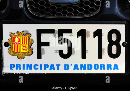 Car license plate with the coat of arms of Andorra, Andorra La Vella, Andorra, Europe - Stock Photo