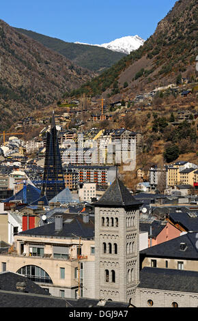 View over Escaldes-Engordany with the Church of San Pedro Martir in the foreground, Andorra La Vella, Andorra, Europe - Stock Photo