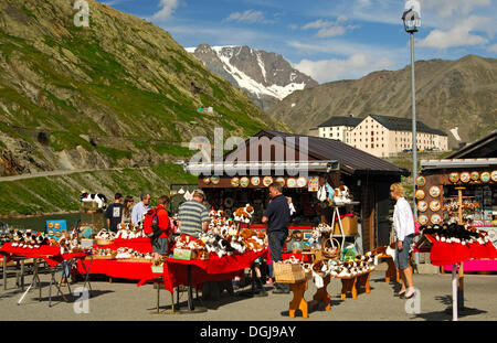 Souvenir stands with St. Bernard dogs soft toys, Italian side of the Great St. Bernard Pass, Italy, Europe - Stock Photo