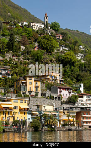 Village of Ronco sopra Ascona on a steep mountainside above Lake Maggiore, Ticino, Switzerland, Europe - Stock Photo