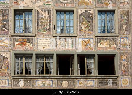 Details of the murals on the façade by Alois Carigiet, Hotel Restaurant Adler, Stein am Rhein, Canton of Schaffhausen - Stock Photo