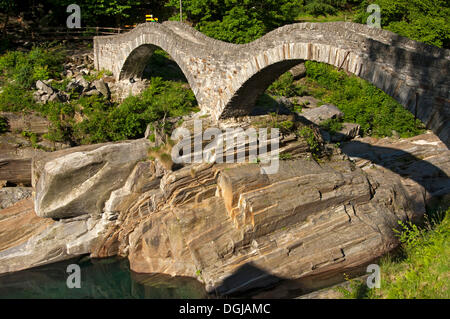 Ponte dei Salti, historic Roman bridge with double arches crossing the Verzasca River, Verzascatal, Lavertezzo, - Stock Photo