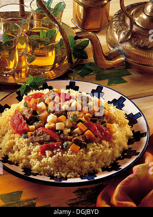 Vegetable lamb couscous, Morocco, recipe available for a fee - Stock Photo