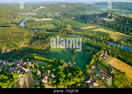 An aerial view over the Dordogne River and surrounding countryside. - Stock Photo