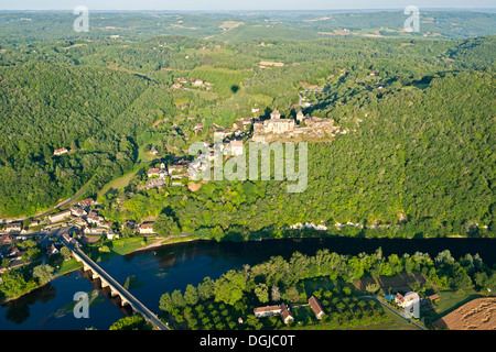 An aerial view of Chateau Castelnaud and surrounding countryside. - Stock Photo