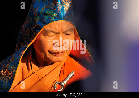 High priest at the most important festival of the Cham, Po Nagar temple, Nha Trang, Vietnam, Southeast Asia - Stock Photo