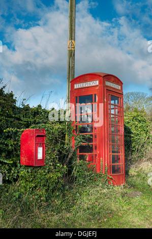 Unkempt BT telephone box. - Stock Photo