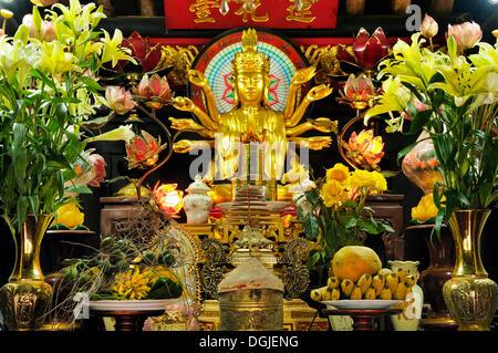 Altar inside the One Pillar Pagoda, Hanoi, Vietnam, Southeast Asia - Stock Photo