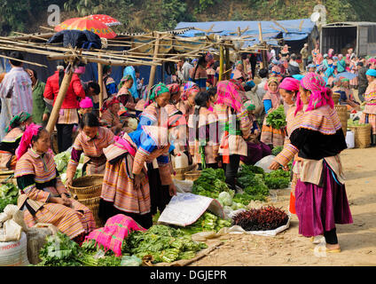 People's market, women in the costumes of the Hmong ethnic minority, Flower Hmong ethnic group, Sin Cheng, Si Ma - Stock Photo