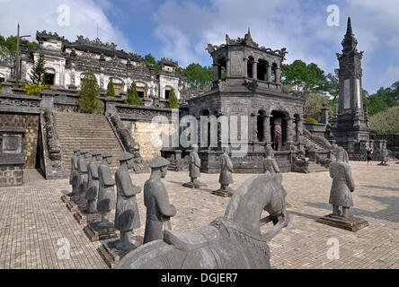 Tomb of Emperor Khai Dinh, mausoleum, guardian statues in stone, Hue, UNESCO World Heritage Site, Vietnam, Asia - Stock Photo