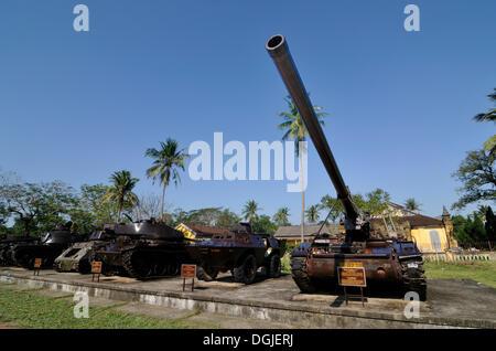Tank from the Vietnam War, Battle Field King, 175mm artillery of the Vietnamese liberation army, Hue, Vietnam, Asia - Stock Photo
