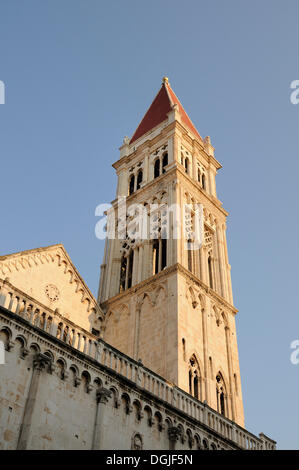 Bell tower of the Cathedral of St. Lawrence in Trogir, Croatia, Europe - Stock Photo