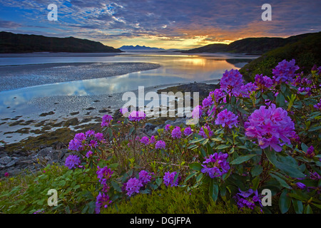 Sunset over Morar Sands looking towards with the islands of Eigg and Rhum. - Stock Photo