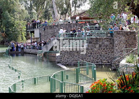 Baptism, baptismal site of Yardenit at the River Jordan, Sea of Galilee, Israel, Middle East - Stock Photo