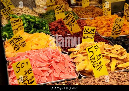 Dried fruit for sale, market, Jerusalem, Israel, Middle East - Stock Photo