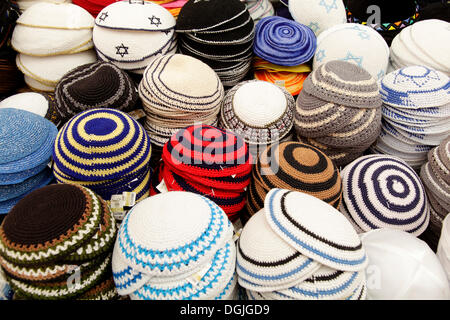 Skullcaps, kippot for sale, Jerusalem, Israel, Middle East - Stock Photo