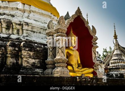 A Buddha at Wat Buppharam in Chiang Mai. - Stock Photo