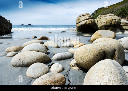 The beach at Porth Nanven. - Stock Photo